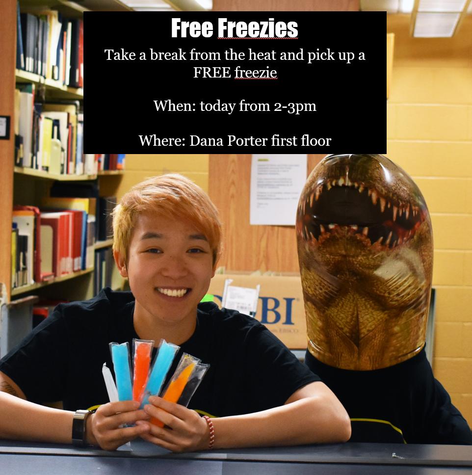 Library Ambassador holding freezies