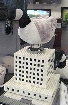Goose on top of library madeof LEGO