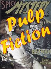 Pulp fiction written across a naked woman on a book cover