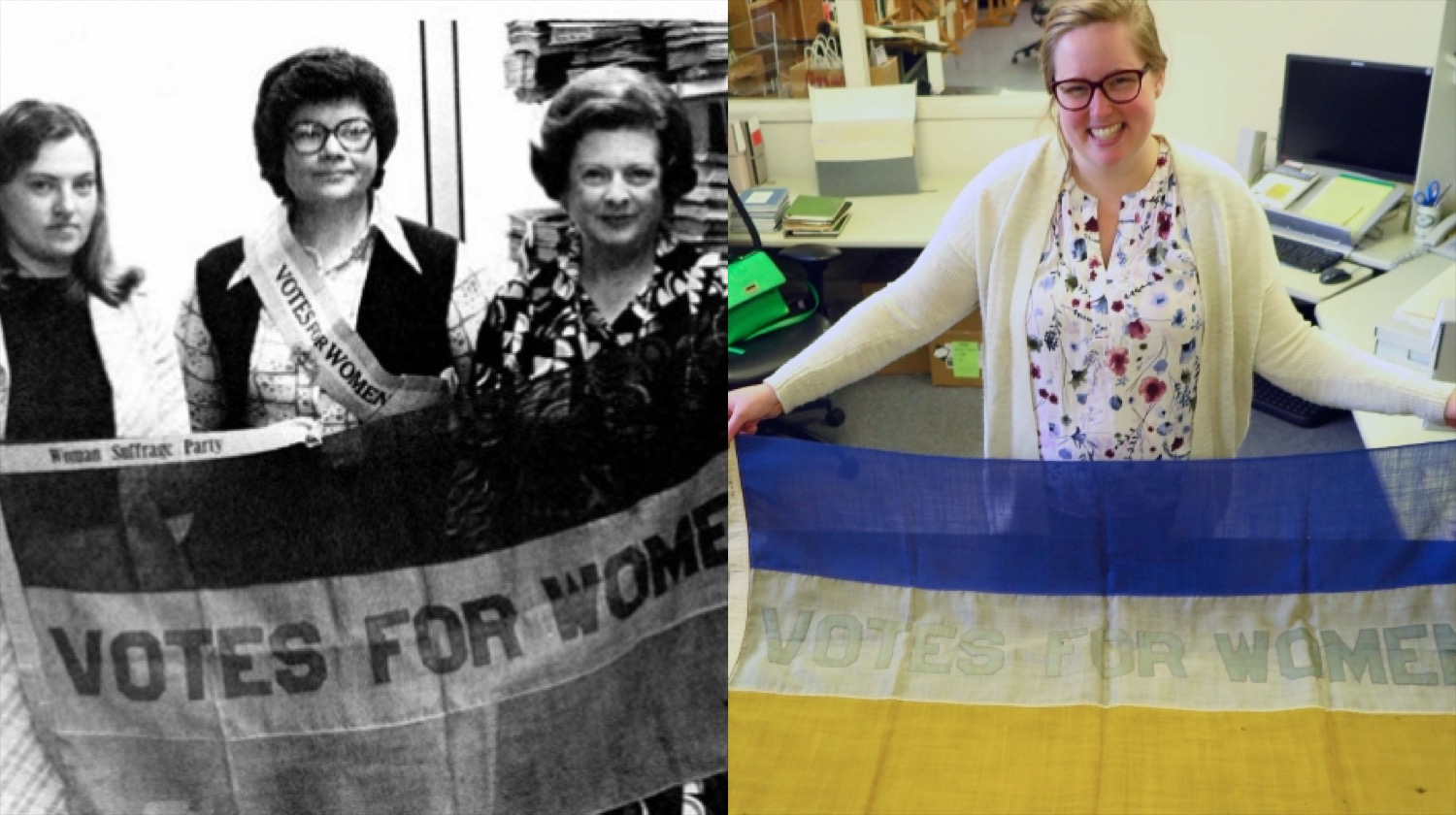 Librarians holding flag in 1967 and 2017