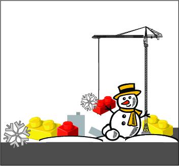 Snowman beside building crane