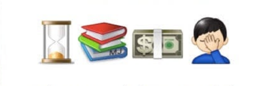 Series of emojis: hourglass, books, money, facepalm