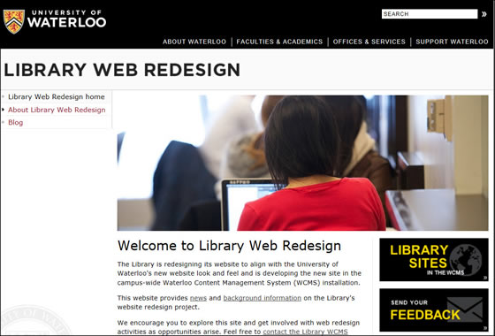 Image of Library Web Redesign site.