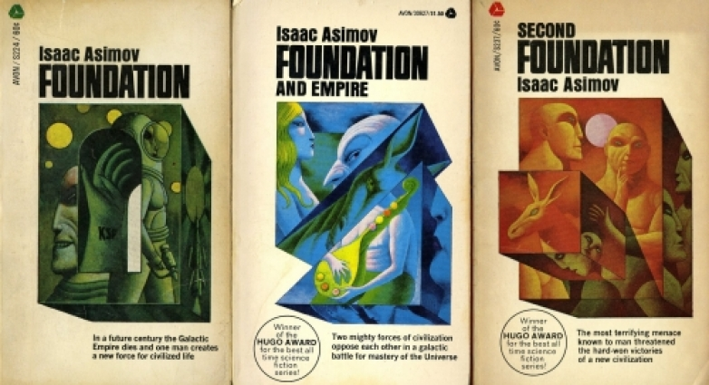 3 book covers of Isacc Asimov Foundation work