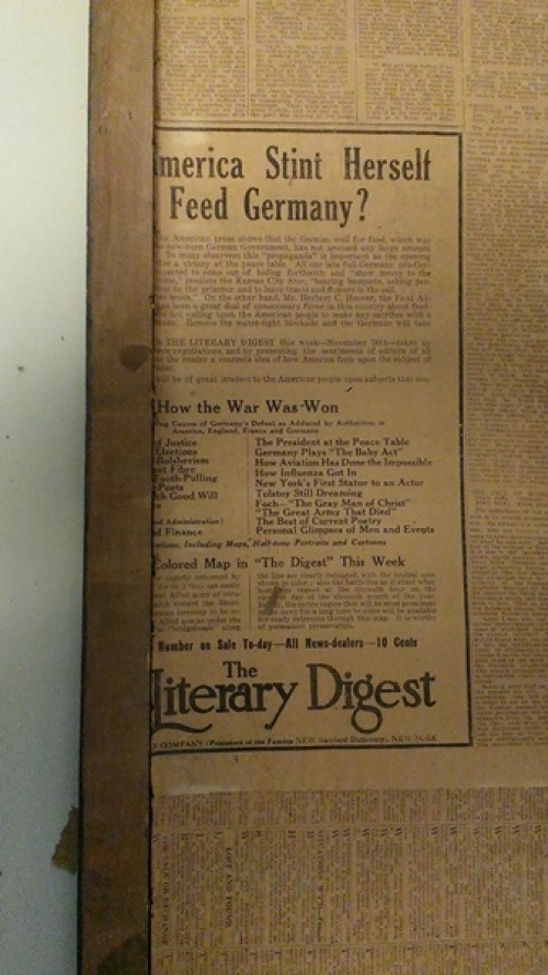 Newspaper ad with text and title