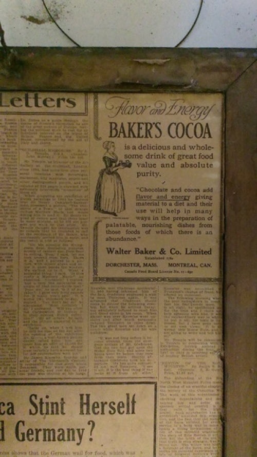 Newspaper ad about cocoa with text