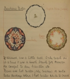 Page from K. Mary E. Shaw's notebook featuring china plates.