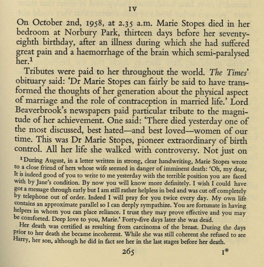 A passage that speaks on the death of Marie Stopes.