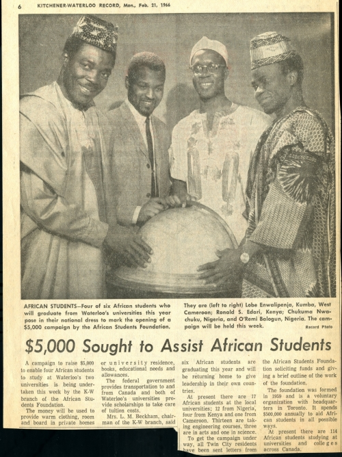 """Clipping titled """"$5,000 Sought to Assist African Students"""" from the Kitchener-Waterloo Record"""