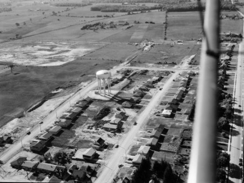 aerial view of water tower