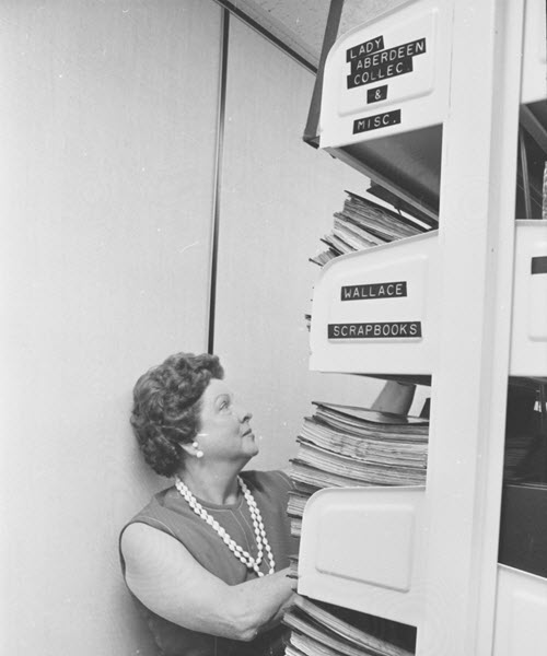 Doris Lewis shelving.