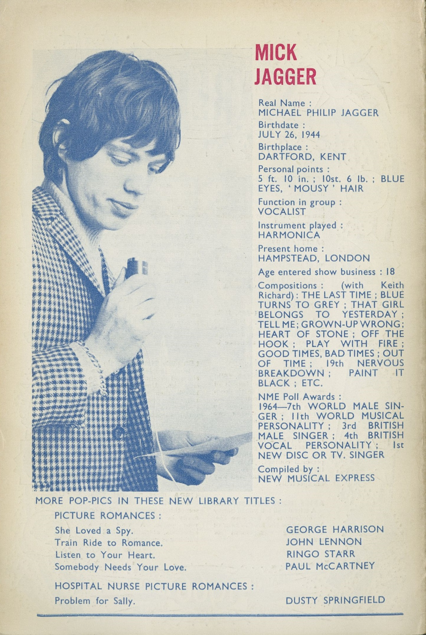 Short biography and picture of Mick Jagger