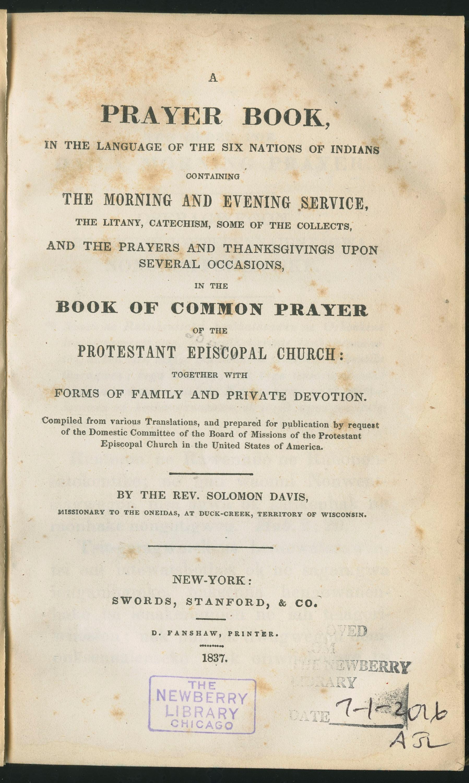Prayer book in Oneida