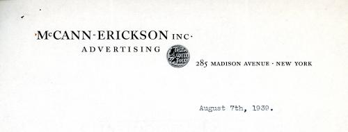 McCann-Erickson letterhead