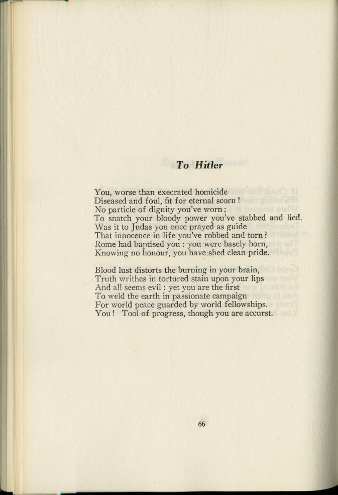 Wartime Harvest, poem addressed to Hitler.