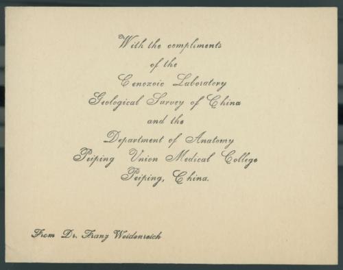 Card from Dr Franz Weidenreich