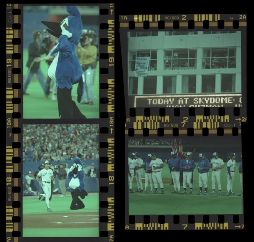 Negatives of Toronto Blue Jays game at Skydome.