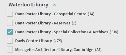 Screenshot of Dana Porter Library - Special Collections & Archives location filter selected in catalogue