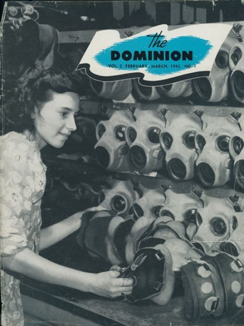 Cover of an issue of The Dominion featuring a worker and rows of gas masks