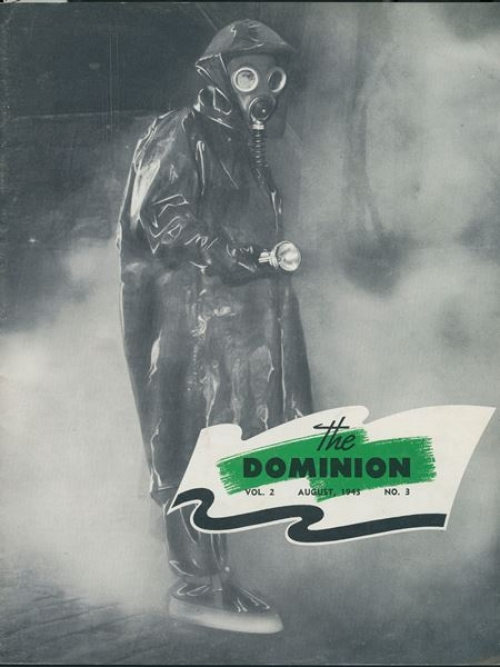 Front cover of the Dominion featuring someone wearing a full rubber gas suit