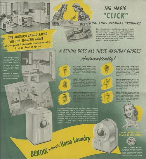 Bendix home laundry machine advertisement with images of washing machines and drawings of women explaining the chores the washing machine can do
