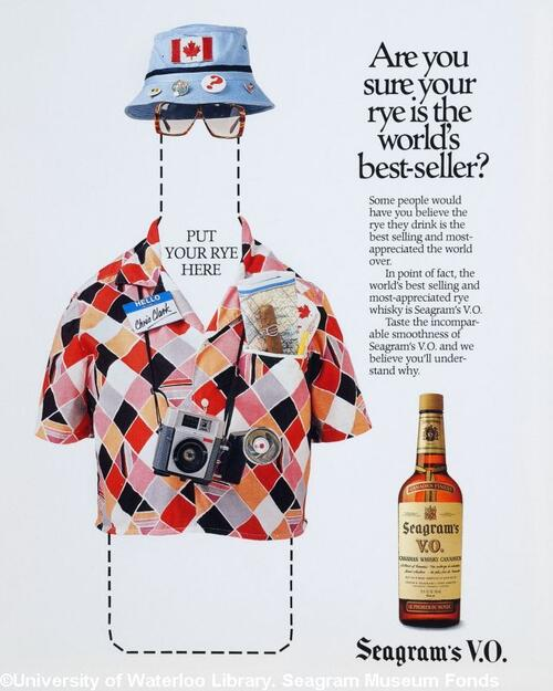 Seagram's VO rye whisky advertisement, featuring an outline of the whiskey bottle outfitted as a tourist in a hat and shirt, camera around neck, map in pocket etc. with a smaller photo of a bottle of Seagrams V.O. whiskey to the side