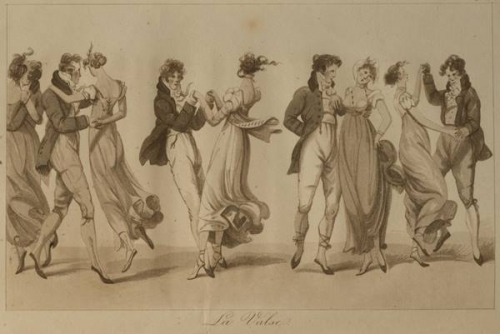 Illustration of people waltzing