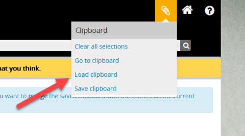Clipboard drop down menu with Load option highlighted
