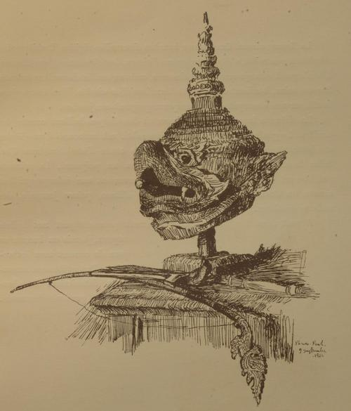 Print showing a mask of a bird head.