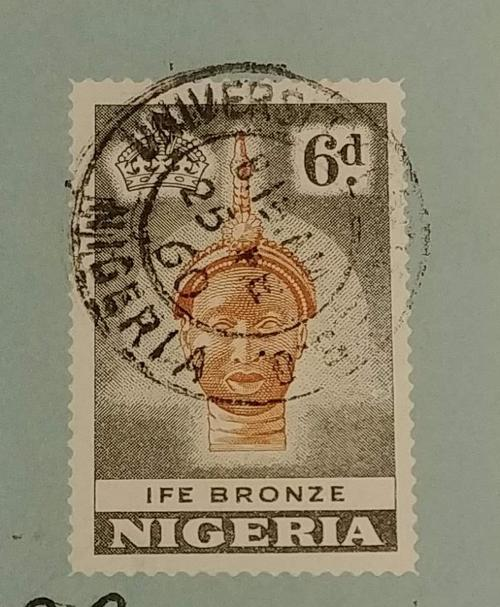 Stamp featuring Bronze Head from Ife