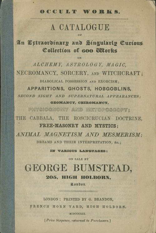Front cover of occult catalogue