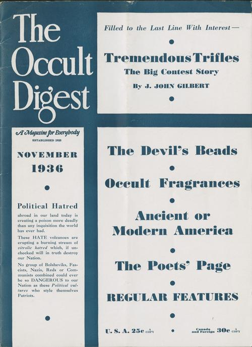 "The front cover of the November 1936 edition of ""The Occult Digest"""