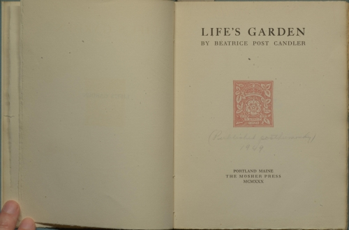 "Title page of book, with handwritten note, ""published posthumously 1949""."