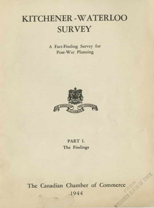 front cover of Kitchener-Waterloo survey