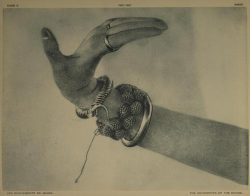 Photo of a hand gesture with the palm and fingers stretched back.