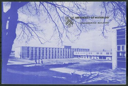 Cover of promotional booklet with landscape shot of the first Engineering Building.