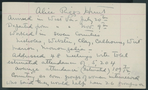 A page from Alice Riggs Hunt's notebook