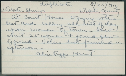 Index card dated August 25, 1916