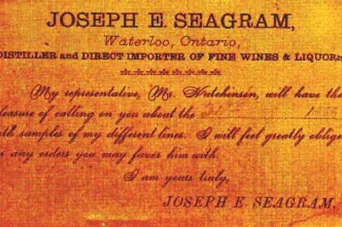 J.E. Seagram's business card: Distillor and Direct Importer of Fine Wines & Liquors.