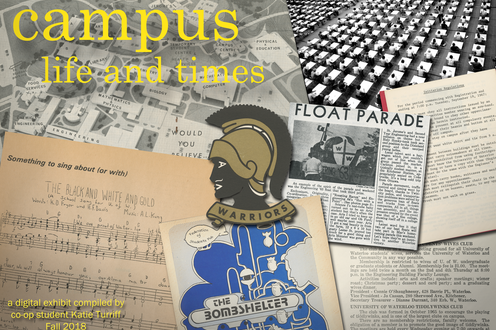 A collage of university material opens the exhibit.