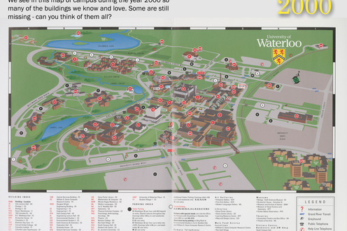 A map of campus in 2000