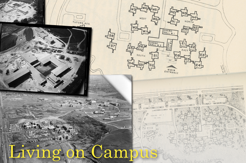 A collage of photos and maps related to residence buildings