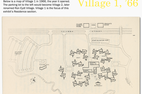 A map of Village 1 in 1966, with descriptive text