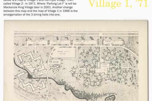A map of Village 1 in 1971 with descriptive text