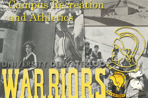 A collage of photographs depicting athletes and Warriors logos.