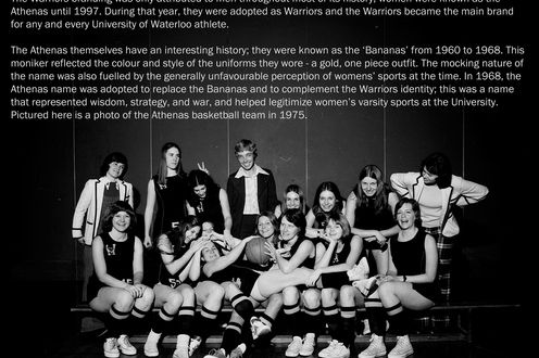 A team photo of 16 women pose with a basketball, descriptive text above