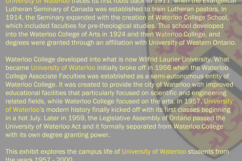 A page of text describing university history with the University of Waterloo crest in the background