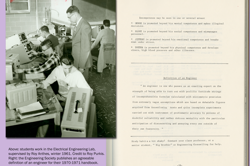 A photograph of students in a lab with equiptment and a page from a student's book
