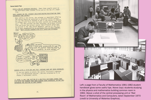 A page from a student's book with photographs depicting computers and students studying. Caption bottom right
