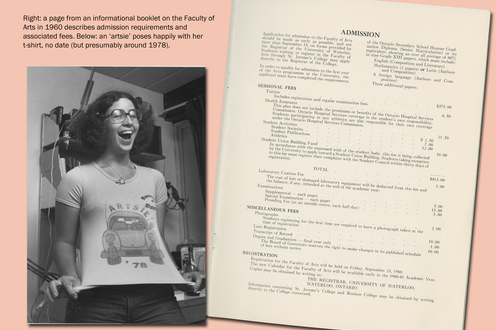 A photograph of a woman showing off her shirt and a page from a student's book, descriptive text upper left